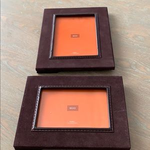 Brown suede picture frames, lot of two